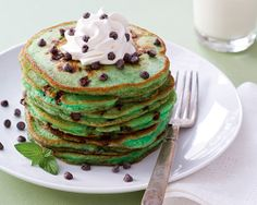 Mint chocolate chip pancakes #sweets