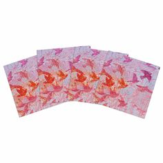 "Marianna Tankelevich ""Bird's Dream"" Lavendar Pink Indoor/Outdoor Place Mat (Set of 4)"