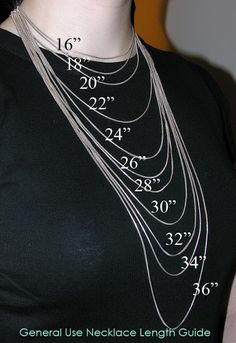 Necklace Length Guide.  Good to know if ordering jewelry and can't picture the length, from Alena's Originals.
