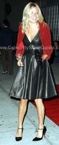 Sienna Miller Style and Fashion - Alexander McQueen Leather Dress - Celebrity Style Guide