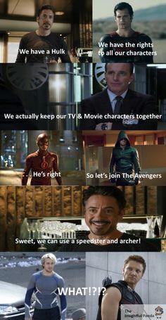 Avengers, Marvel, and DC image Avengers Humor, Funny Marvel Memes, Dc Memes, Avengers Cast, Marvel Films, Marvel Dc Comics, Marvel Characters, Marvel Cinematic, Marvel Vs