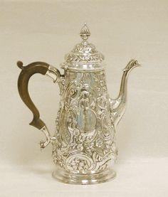 a George II silver coffee pot, London, 1748