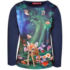 Donkerblauw shirt van Someone met een schattige bambi-print | Olliewood