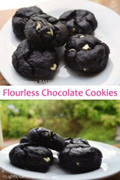 Flourless Chocolate Cookies are a healthy alternative to regular chocolate cookies. Super rich and delicate you won't know the difference! Click the photo for the recipe. Baking Recipes, Cookie Recipes, Dessert Recipes, Desserts, Flourless Chocolate Cookies, Cookies Light, Healthy Baking, Healthy Recipes, Base Foods