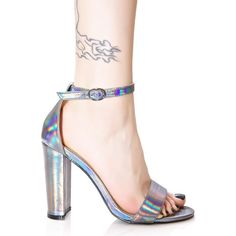 Glamorous Holographic Heels ($23) ❤ liked on Polyvore featuring shoes, pumps, metallic pumps, going out shoes, vegan shoes, metallic shoes and block heel pumps