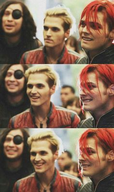 and here are rare photos of Mikey Way, the master of the poker face, SMILING.