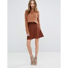 Missguided Knitted Skater Skirt (1170 TWD) ❤ liked on Polyvore featuring skirts, brown, flared skirt, circle skirt, high-waisted skater skirts, high waisted circle skirt and brown skirt