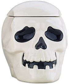 Martha Stewart Collection Skull Cookie Jar, Created for Macy's Halloween Kitchen Decor, Scary Halloween Decorations, Halloween Candy, Happy Halloween, Martha Stewart Home, Pet Treats, Fun Cookies, Food Storage Containers, Black Decor