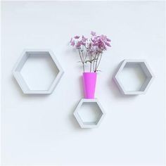 Buy Desi Karigar Wall Mount Shelves Hexagon Shape Set of 3 White Wall Shelves by desi karigar, on Paytm, Price: Rs.1499?utm_medium=pintrest