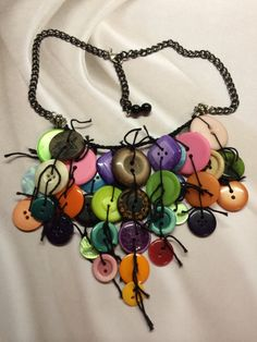 Crocheted Button Necklace by BornAgainButtons on Etsy, $25.00