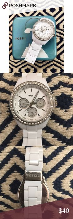 Fossil - Stella Multifunction White Resin Watch So cute and practical for every day use! This watch does need a new battery, but is in otherwise good condition! There are minor scratches on the silver, but nothing on the face and no jewels missing. A great piece! Fossil Accessories Watches