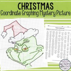 "This is a great activity where students graph points on a coordinate plane and it creates a picture of a Christmas Grump! The clever title of ""You're a Mean One"" gives them a clue to what the picture will be. The points include ordered pairs from all four quadrants and decimals such as (1.5, -4.5)."