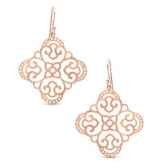 Ornate Clover Drop Earrings in Sterling Silver with Rose Rhodium