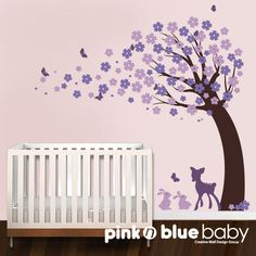 Cherry Blossom Tree with fawn and bunnies   by pinknbluebaby, $92.00