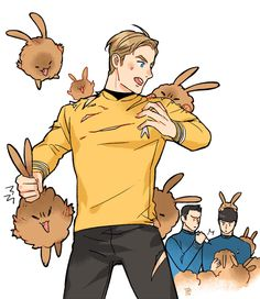 Space Bunny Attack. Look at Spock in the background, and McCoy giving him a shot. *chuckle*