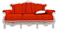 Yes please! Ornate and modern orange and white sofa!