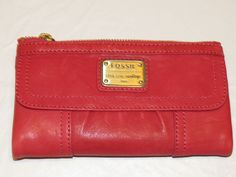 Fossil SL2931695 Emory Clutch Bright redish pink Leather clutch Wallet NWT*^ #Fossil #Clutch