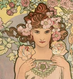 "tierradentro:  ""Les Fleurs - The Rose"" (detail), 1898, Alphonse Mucha. (original here)"