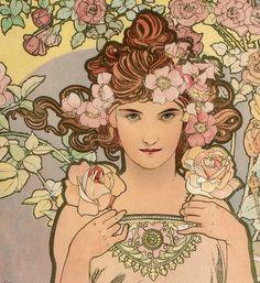 "tierradentro:  ""Les Fleurs - The Rose"" (detail), 1898, Alphonse Mucha. (original here)"
