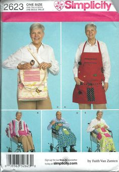 Simplicity 2623 Wheelchair Accessories, Cape, Blanket, Tote and Apron Pattern UNCUT