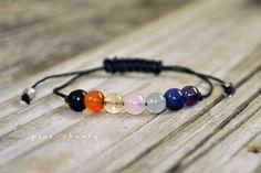 Chakra Yoga Bracelet - Protection Healing Bracelet - Hand Knotted - Nylon Fiber Cord - Minimalist Jewelry - Blue - Hypoallergenic - Meditation