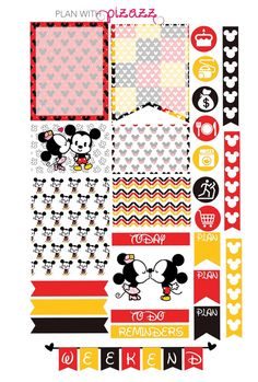 Disney MICKEY MOUSE & MINNIE Mouse Inspired Weekly theme sticker set Perfect for…