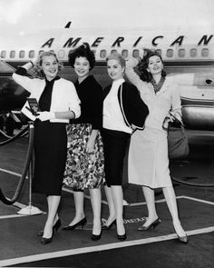 https://flic.kr/p/dm8Jk6 | Untitled | From left, American actresses Hope Lange, Diane Baker, Martha Hyer, and Suzy pose for a photo at Idlewild Airport (later renamed John F. Kennedy Airport) as they get ready to board an American Airlines plane after the completion of shooting on the film 'The Best Of Everything,' directed by Jean Negulesco, 1959.  (Photo by Hulton Archive/Getty Images)