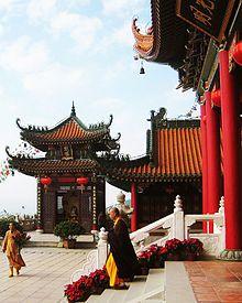 Buddhist monks at Jintai Temple in Zhuhai, Guangdong, China