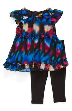 Nicole Miller Ruffled Chiffon Tunic & Leggings (Baby Girls) (Online Only) available at #Nordstrom