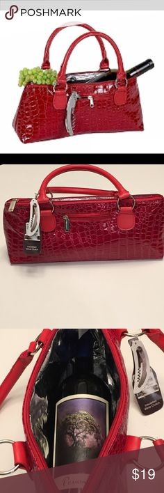 Faux Red Crocodile Handbag -- For a Wine Diva Insulated lining and a perfect size to carry your favorite bottle of vino. Fashionable and stylish. Perfect gift for that wine lover in your life who needs a new purse. New with tags. Bags