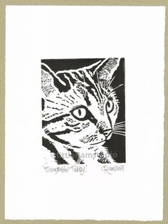 Thoughtful Tabby Cat - Linocut Original hand pulled Relief Print on Etsy, $31.65 AUD