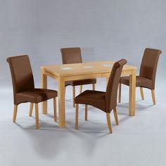 Manhattan Oak Veneer Dining Set With 6 Brown Dining Chairs