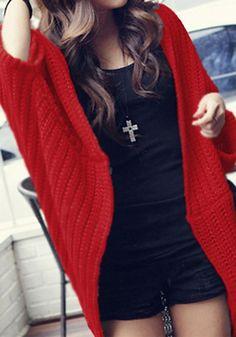 Red Plain Irregular Collarless Streetwear Acrylic Cardigan Sweater