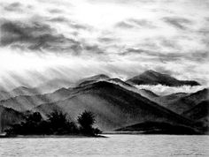 Charcoal Drawing of Mountains --- this is the type of shading I want for my tattoo