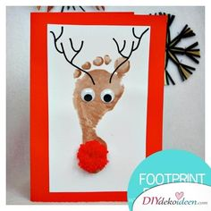 DIY Bastelideen für Weihnachtsbasteln mit Kindern, Geschenke selber machen, Mit Fingerabdrücken un Kids Crafts, Christmas Crafts For Kids To Make, Diy Christmas Cards, Craft Projects For Kids, Toddler Crafts, Kids Christmas, Handmade Christmas, Christmas Decorations, Craft Ideas