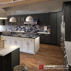 Buy Greystone Shaker Kitchen Cabinets - RTA Cabinets by CabinetSelect White Kitchen Cart, Black Kitchen Island, Galley Style Kitchen, Kitchen Island With Seating, Kitchen Design, Kitchen Cabinets For Sale, Rta Cabinets, Dark Cabinets