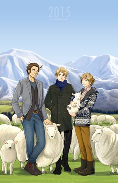 "ctcsherry: ""Happy Year of the Sheep! I miss New Zealand so much, so decided to use this opportunity to send a love letter! Featuring some guys with sheep in wool clothing. What Is Sketch, Hetalia England, Hetalia New Zealand, Hetalia Fanart, Hetalia Cosplay, Studio Deen, New Zealand Art, Spamano, Kaichou Wa Maid Sama"