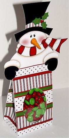 SVG Paper Piecing Cutting Machine Snowman Topper Treat Box