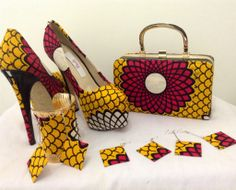High Street Brand Shoes, Box Clutch Bag and Jewelleries customised by Petiz in African Print fabric.