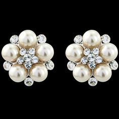 Pearl wedding stud earrings 1950s style antique by retrobridal