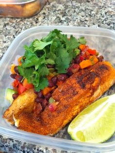 Southwest Salmon with Black Bean and Avocado Salsa prepared with love by Friend that Cooks in Kansas City.