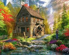 Mill Cottage Jigsaw Puzzle by Vermont Christmas Company. with recycled materials. Randomly shaped and interlocking pieces. Image Fruit, Images Vintage, Image Nature, Nature Gif, Puzzle Art, Puzzle 1000, Thomas Kinkade, The Fresh, Beautiful Artwork