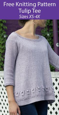 Free Knitting Pattern for Tulip Tee - This pullover tee top with three-quarter sleeves features a beautiful floral motif along the hem and eyelets along the edges. Sizes Extra Small (Small, Medium, Large, 1X, 2X, 3X, 4X) Designed by Amy Gunderson. Sport weight yarn. Crotchet Patterns, Knitting Patterns Free, Free Knitting, Crochet Ideas, Free Pattern, Aran Weight Yarn, Sport Weight Yarn, Fingerless Mitts, Knitted Flowers