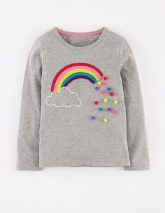 Mini Boden -Dotty Appliqué T-shirt in Gre Marl Rainbow- Girls #embroidery #pompoms #applique