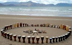 drum circle by the ocean