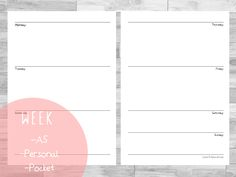 Free planner / Filofax Printables A5 & Personal  & Pocket Week on Two Pages