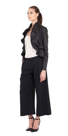 Ivette Leather Ruffle Jacket