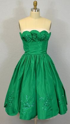 Vintage 1950s Party Dress / Kelly Green