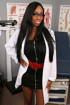 Maid dark haired sensual doctor