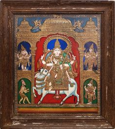 The MOST beautiful antique style Shiva Tanjore painting I have come across...